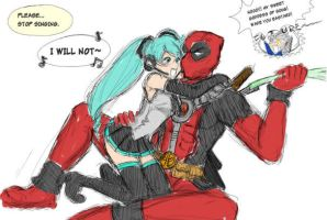 Scrap: Deadpool and Miku by ashcomics