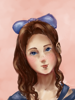 Girl with Blue Bow by RivkaS