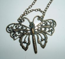 bronzed butterfly pendant stoc by DemoncherryStock