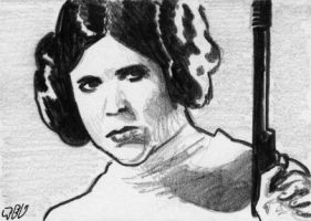 Princess Leia sketch card by tdastick