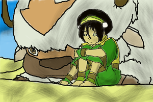 Toph and Appa Colored by Saiyan-Wolf