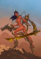Dejah Thoris in Martian battle suit by Lipatov