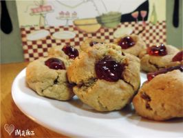 Peanut Butter and Jelly Thumbprint Cookies by iMaikz