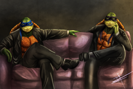 Turtles in suits by XxLevanaxX