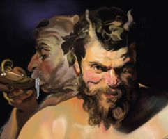 The Two Satyrs by indi1288