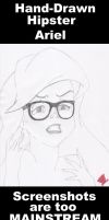 Hand-Drawn Hipster Ariel by MadHatter-Himself
