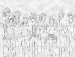 Final Fantasy VII LineART by Arlequinne