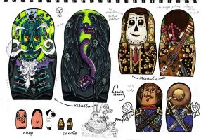 Coloured designs for The Book of Life nesting doll by LeonieIsaacs