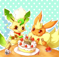 Leafeon and Flareon eating by BiyomonCuty
