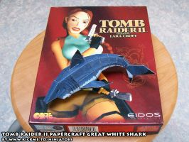 Papercraft Tomb Raider 2 Great White shark by ninjatoespapercraft