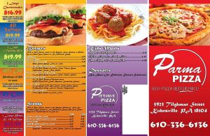 Parma Pizza Menu 2 front by pandagog