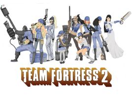 Team Fortress 2 Girls BLUE by SilentRicochet