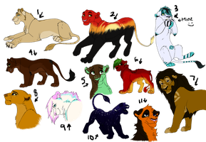 Adoptable Sheet 1 Lions by DreamsInTheNight