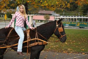 stock Blonde girl on  horse by DeadEyeStock