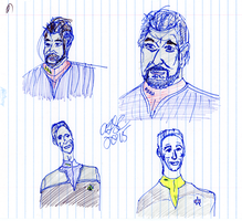 Riker and Bashir Sketches by AdamTSC