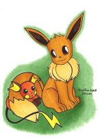 Eevee and Baby Raichu by Jadesca