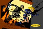 Catwoman n Black Canary by Gwhitmore