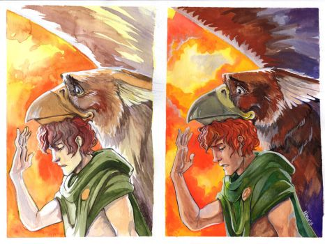Gryphon and the boy by Herio13