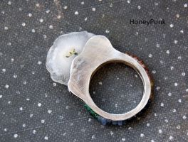 ring sterling silver with quartz solar by honeypunk