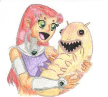 Starfire and Silkie by tomboy-girl