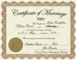 Goodfellow Marriage Certificate by MissMartian4ever