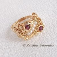 Theodora Ring in 14k Goldfill and Garnet by Wiresculptress