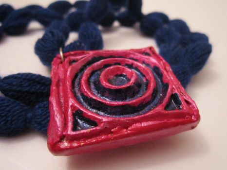 Pink and blue clay necklace by purplrain