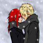 Xana x Roxas Snowfall by HeartlessKeyWielder