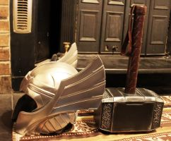 Thor helm and hammer Finished 2 by NMTcreations