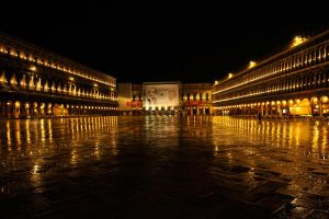 Piazza San Marco - rainy night 1 by wildplaces