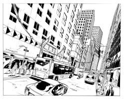 Spiderman double spread page Inks by ernesin149
