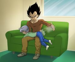 Comm - Vegeta spanking Trunks by pallottili