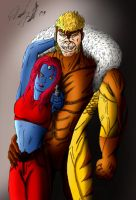 Sabertooth and Mystique by theterribletoadking