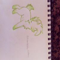 Green outline wolf by Angelsketch-artist