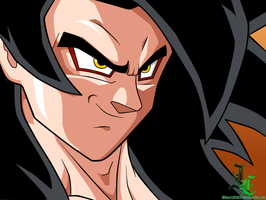 Pen Tool Practice: Goku SSJ4 Colored by JamalC157