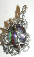Mystic Fire Wire wrapped pendant by Volkihar