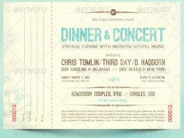 Vintage Dinner Concert Ticket and Bookmarker by Godserv