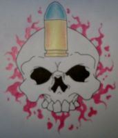 Bullet Blood Skull by mrevilrose