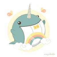 Super Happy Rainbow Narwhale by orangecircle