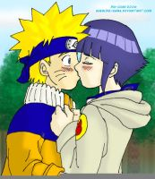 NaruHina Kiss color by Pia-sama