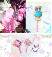 Hana to usagi [Resin wand charm] by SmexyViButt