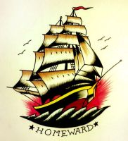 Sailor Jerry style Ship - Homeward by S-Hirsack