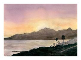 Sunset Over Playa Blanca.- by themaninthehatart