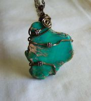 Wire Wrapped Sea Jasper Green Variscite Pendant by mymysticgems