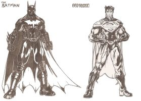 My Batman and Superman by kameleon84