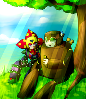 Megaman-woodman and plantman by Nyaph