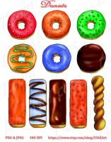 Delicious Donuts Clip Art by Peipei22