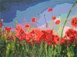 Poppy Field - Painting by Fox-in-the-Box