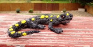 Needle Felted Spotted Salamander Soft Sculpture by DancingVulture