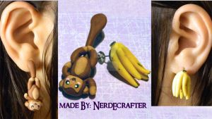 Monkey and Banana Earrings Set (tutorial) by NerdEcrafter